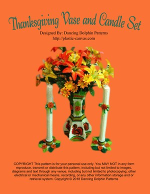088 - Thanksgiving Vase and Candle Set