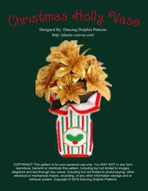 366 - Christmas Holly Vase