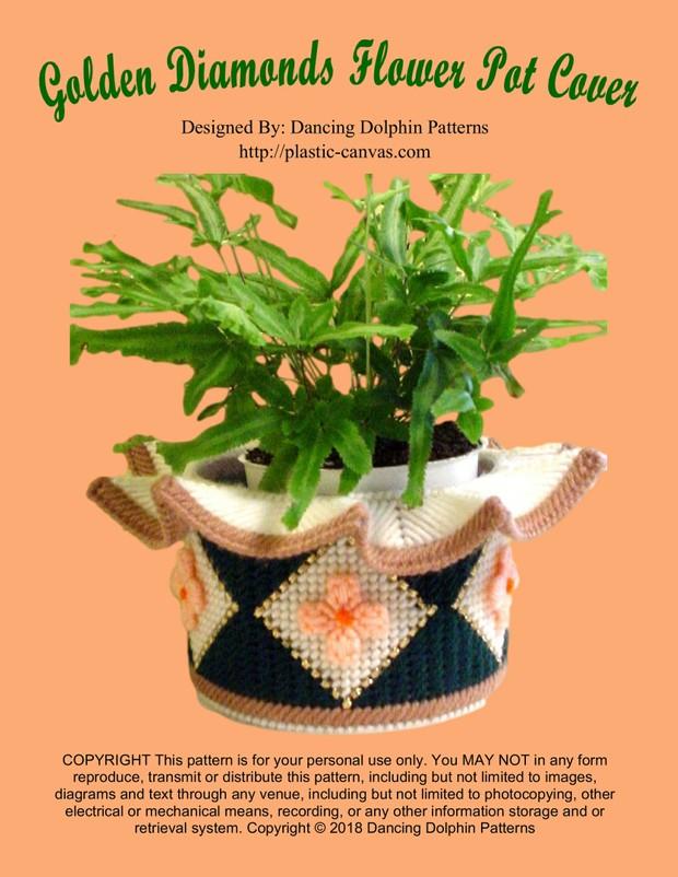 384 - Golden Diamonds Flower Pot Cover
