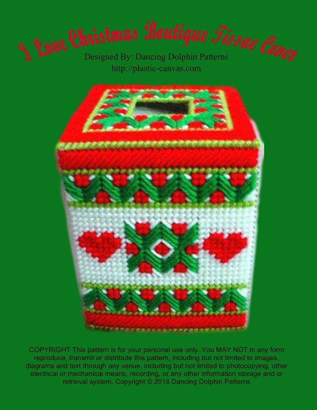 338 - I Love Christmas Boutique Tissue Cover