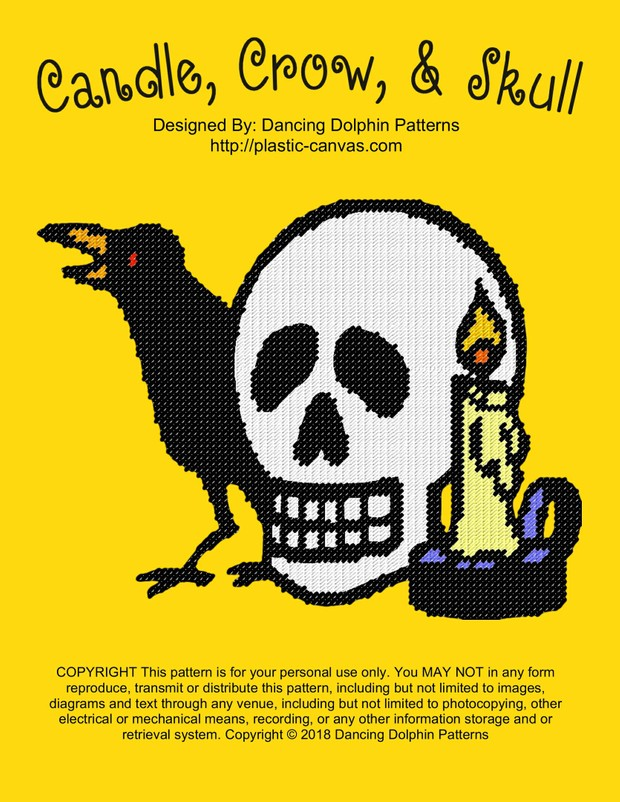 597 - Candle, Crow, & Skull