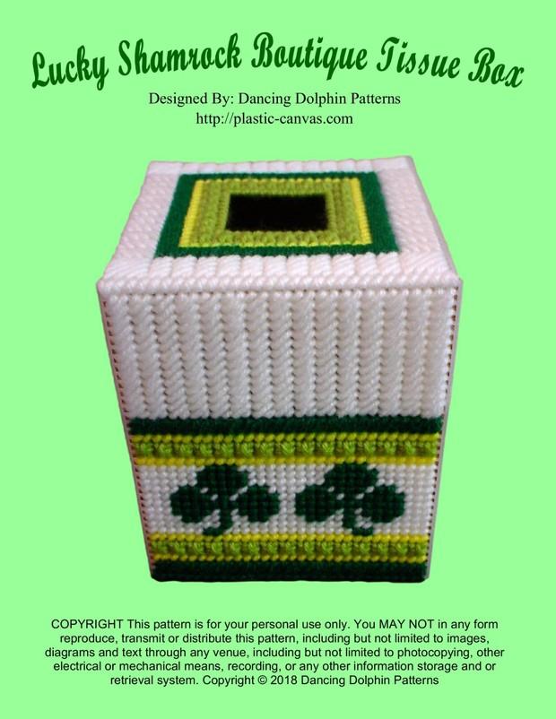 297 - Lucky Shamrock Boutique Tissue Box