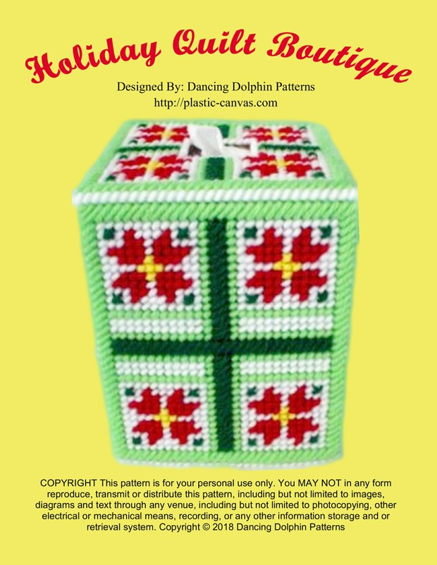 467 - Holiday Quilt Boutique Tissue Cover