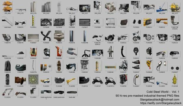 Cold Steel World vol. 1 - Hi-res precut industrial stock photos