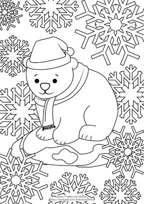 Bear Cub Santa coloring page