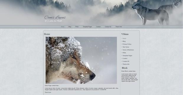 Wolf Wordpress Theme Website Design - Wolves, Canis Lupus, Wildlife
