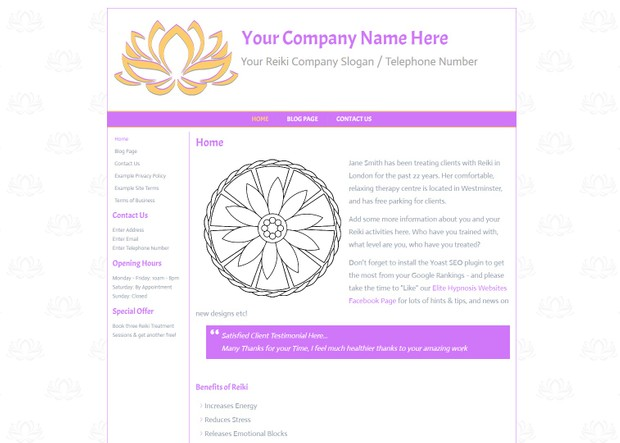 Reiki Wordpress Website Design - Theme, Chakra, Complementary Therapy,