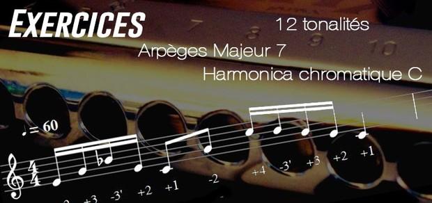 Exercices - Arpèges Majeur 7 - 12 Tonalités - transposés (Musescore) - Harmonica chromatique