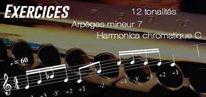 Exercices - Arpèges mineur 7 - Tonalité de Do - transposable (Musescore) - Harmonica chromatique