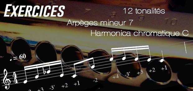 Exercices - Arpèges mineur 7 - 12 Tonalités - transposable (Musescore) - Harmonica chromatique