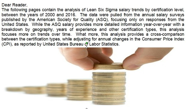 E6S Industries 2000-20016 Lean Six Sigma Salary Trend Analysis