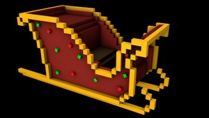 Minecraft Sleigh 3D Model (C4D)