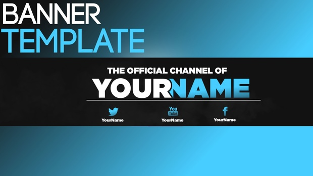 Youtube Banner Template #2 | Blue & White