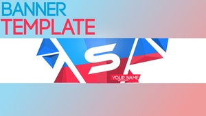 Youtube Banner Template #1 | Blue & Red Triangles