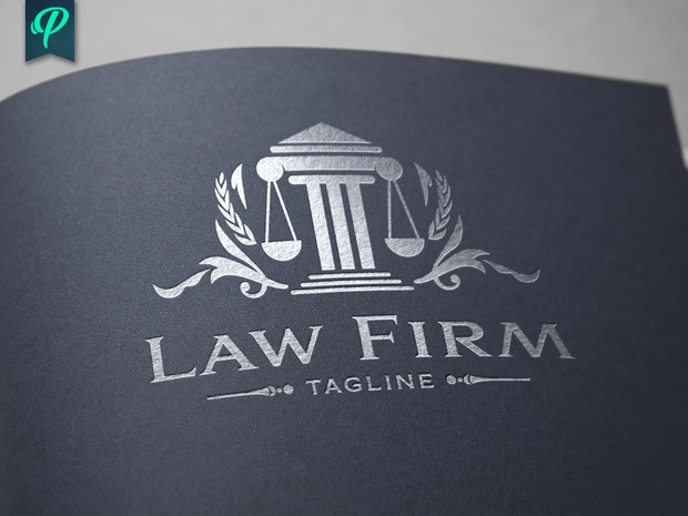 Law Firm - Scale of Justice Vector Logo