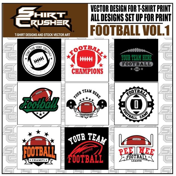 Shirt Crusher Football vol1 - Football T-shirt designs -Printable designs