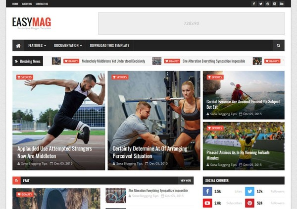 Easy Mag Blogger Template Extended Version