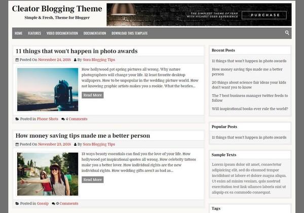 Cleator Blogger Template Premium Version