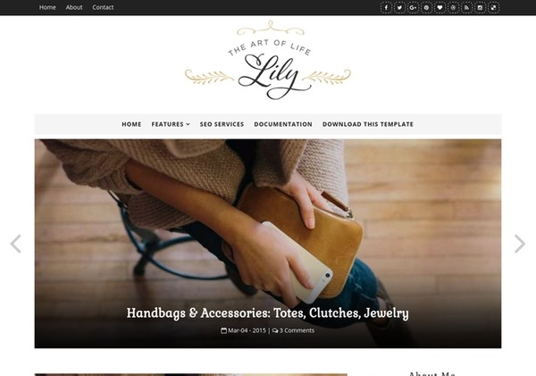 Lily Fashion Blogger Template Premium Version