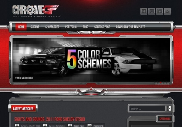 Chrome GT Red Blogger Template Premium Version