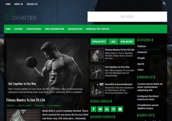 Gymster Blogger Template Premium Version