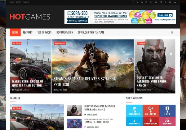 Hot Games Gaming Blogger Template Premium Version