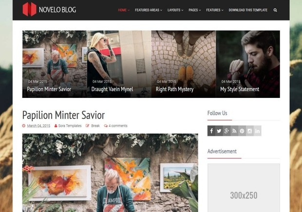 Novelo Blog Blogger Template Premium Version