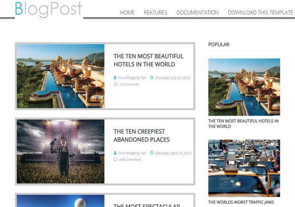 Blog Post Blogger Template Extended Version