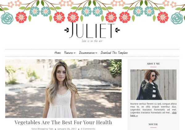 Juliet Blogger Template Premium Version