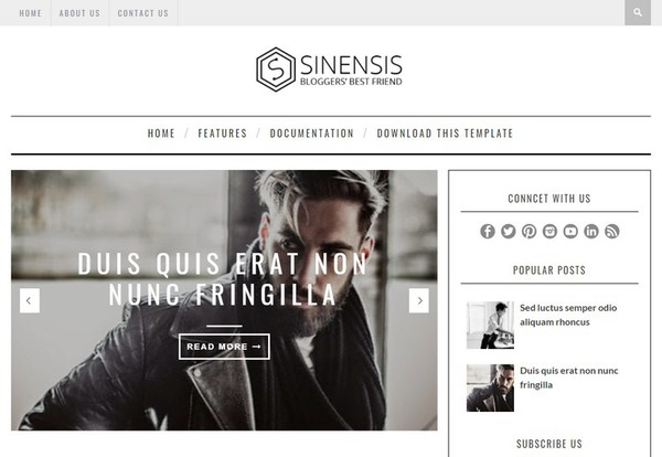 Sinensis Blogger Template Premium Version