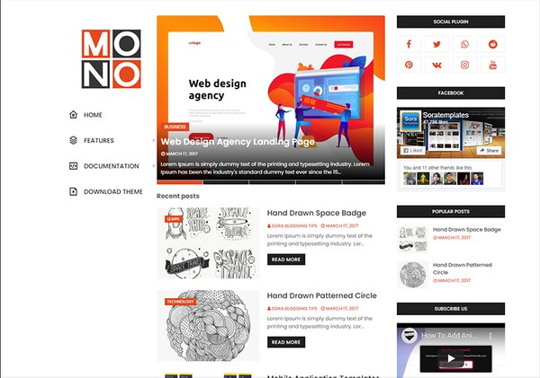 Mono Blogger Template Premium Version