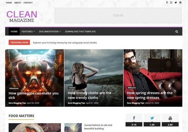 CleanMagazine Blogger Template Premium Version