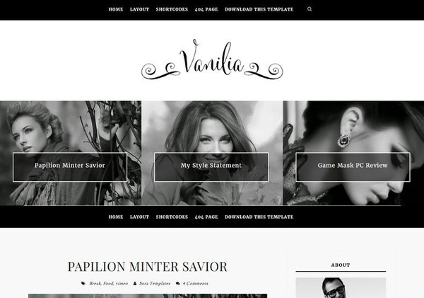 Vanilia Blogger Template Premium Version