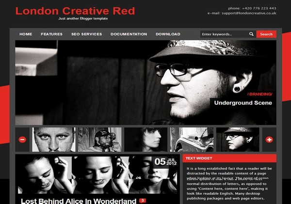 London Creative Red Blogger Template Premium Version