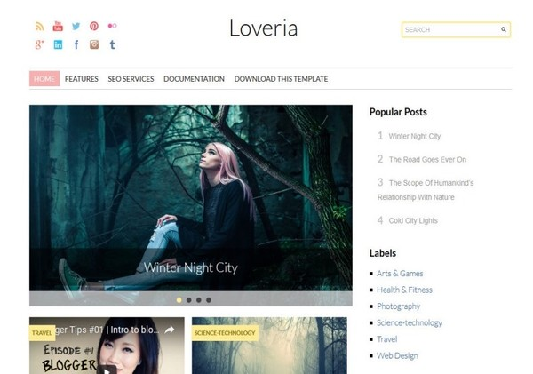 Loveria Blogger Template Premium Version