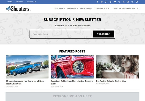 Shouters Blogger Template Premium Version