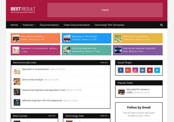 Best Result Blogger Template Premium Version