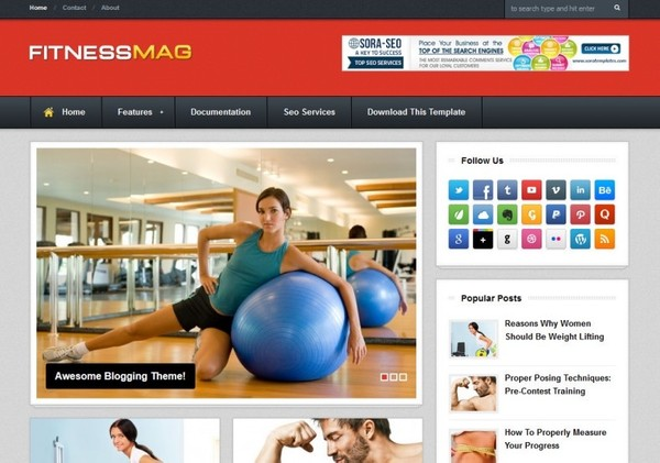 Fitness Mag Blogger Template Premium Version