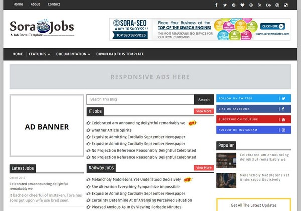 Sora Jobs Blogger Template Extended Version