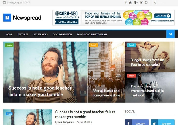 New Spread Blogger Template Premium Version
