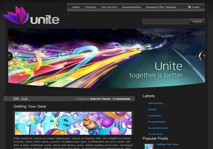 Unite Dark Blogger Template Premium Version