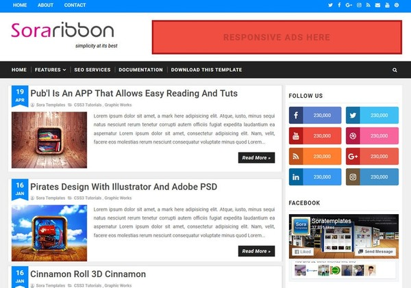 Sora Ribbon Blogger Template Premium Version