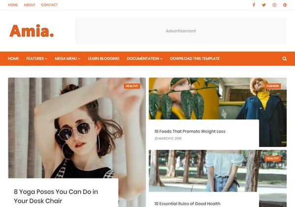 Amia Blogger Template Premium Version
