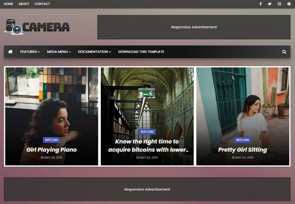 Camera Blogger Template Premium Version