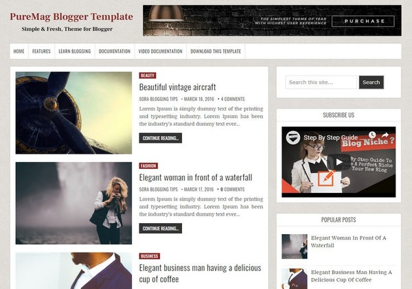 PureMag Blogger Template Premium Version