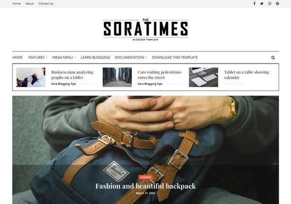 Sora Times Blogger Template Premium Version