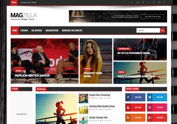 Mag Zilla Blogger Template Premium Version