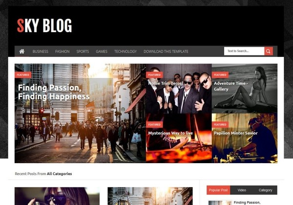 Sky Blog Blogger Template Premium Version