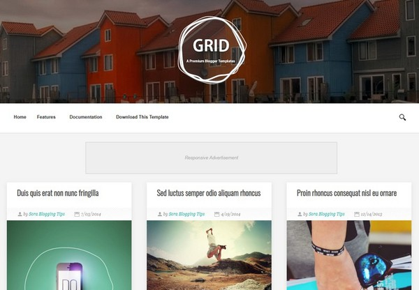 Grid Blogger Template Premium Version