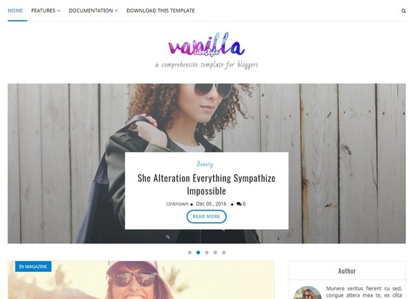 Vanilla Lifestyle Blogger Template Premium Version